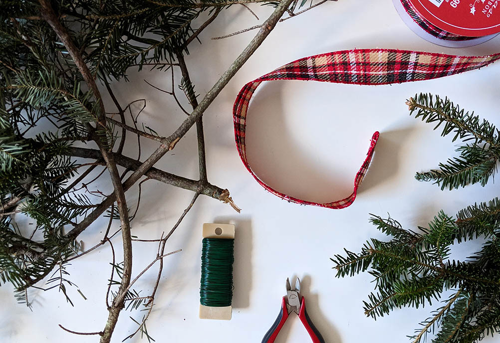 DIY Christmas wreath materials