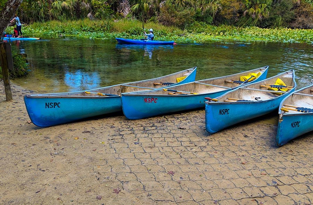 A very Potter Thanksgiving Wekiwa Springs blue kayaks