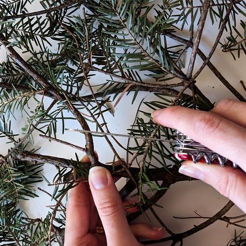 DIY Christmas wreath branch cutting
