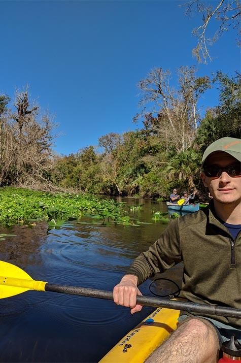 A very Potter Thanksgiving Alex Kayaking at Wekiwa Springs