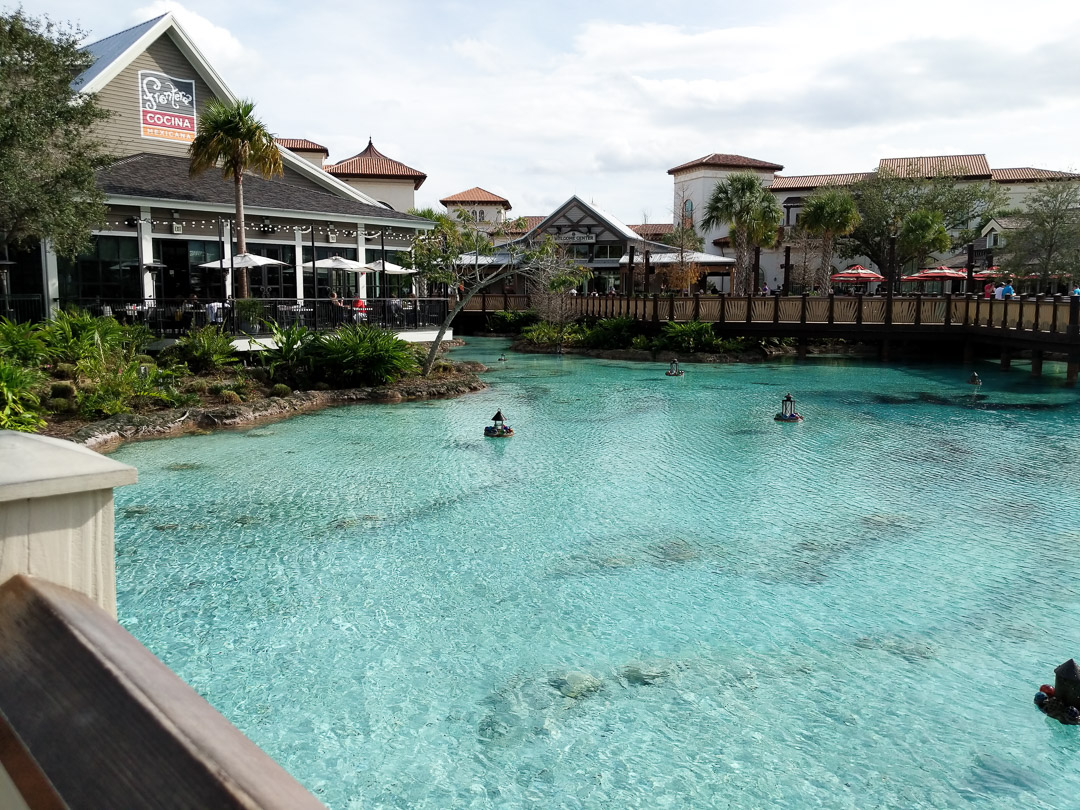 Disney Springs Lagoon and Restaurant view before the Michael Buble concert