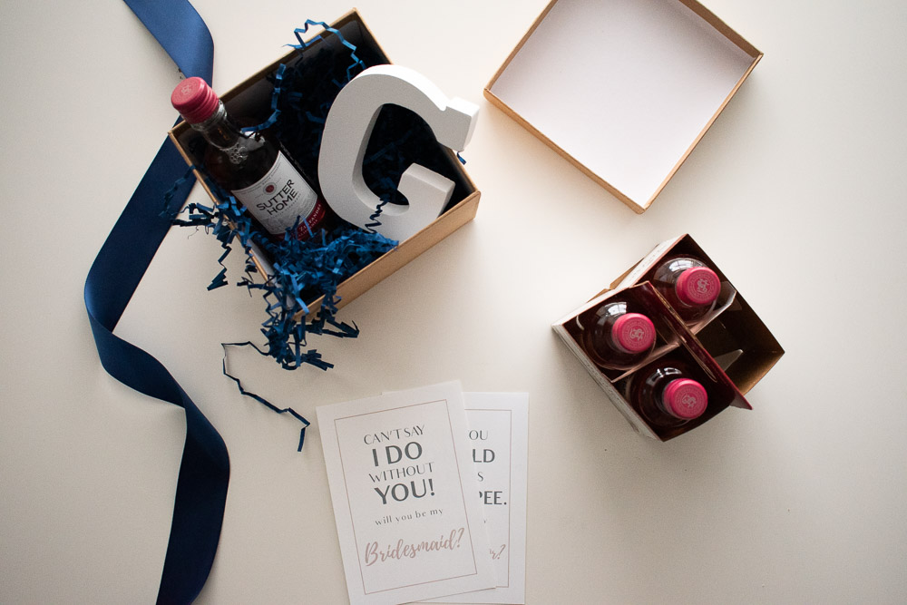 DIY Bridesmaid Proposal Box with Goodies Top Down View
