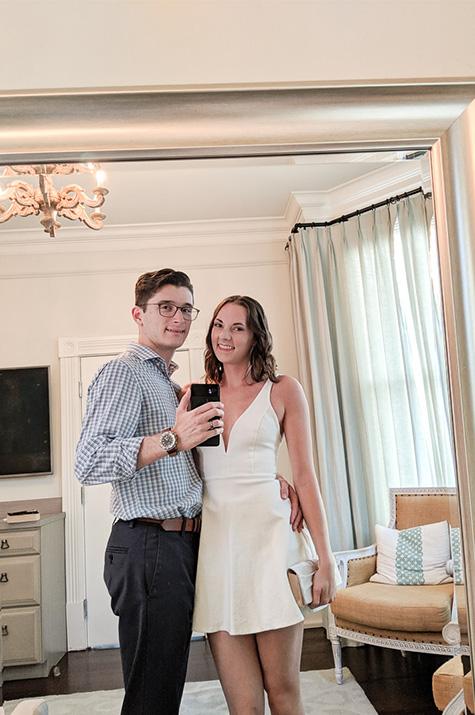one-year anniversary dinner mirror selfie