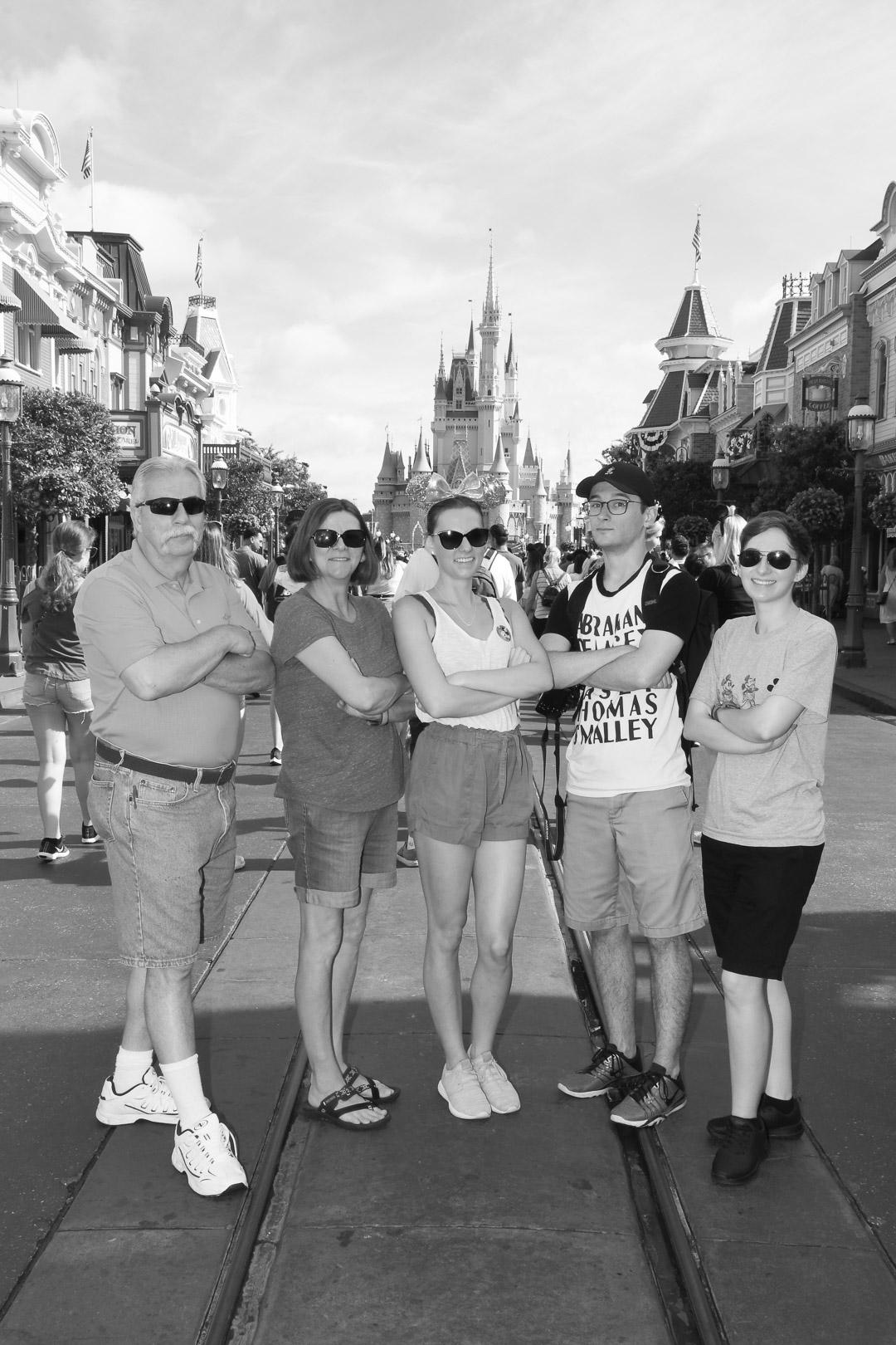 Magic Kingdom Trip Family Picture infront of Castle_B&W
