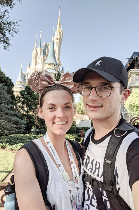 Magic Kingdom Trip_Alex and Cait in front of castle close up